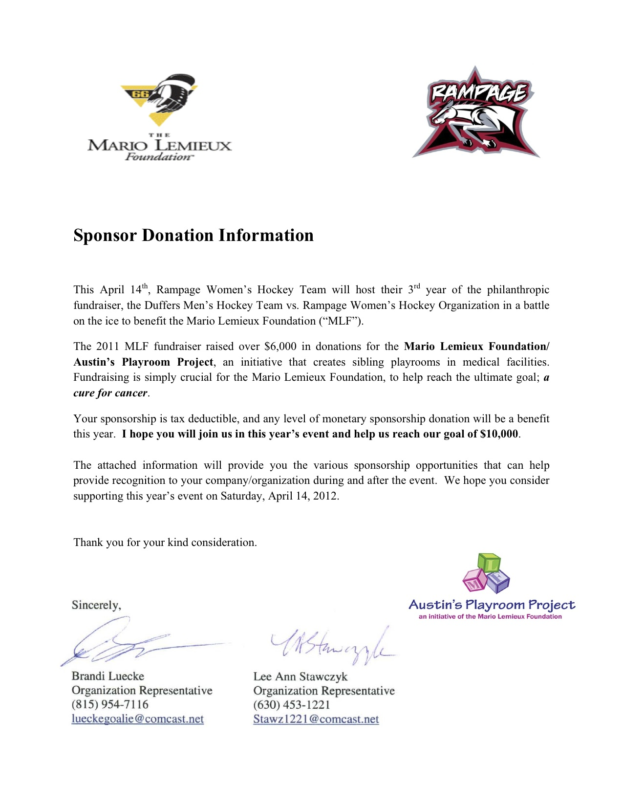 Ice Hockey Template Event Sponsorship Letter -
